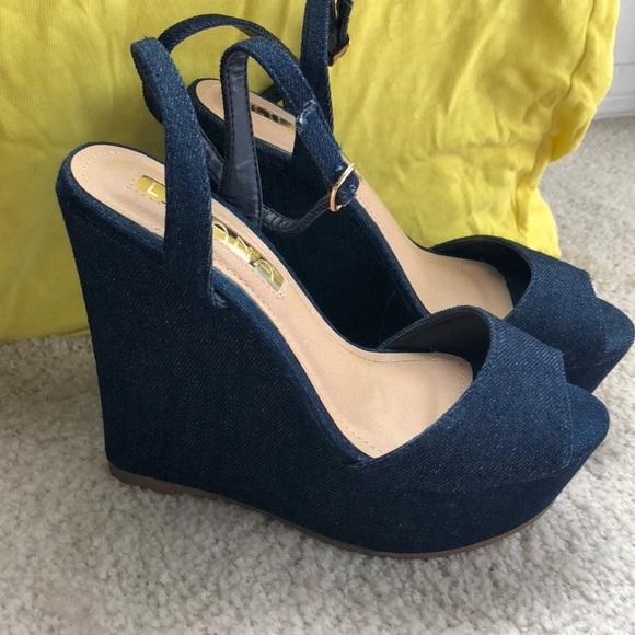 d8eaa3c74ad Liliana Anneka Dark Blue Denim Wedge Sandals
